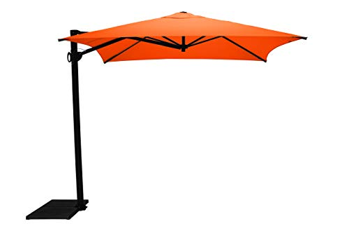 Maffei Art 137q Kronos Parasol deporté carré cm 250x250, Tissu PolyMa. Made in Italy. Couleur Orange