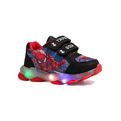 Zapatillas de Spiderman, Zapatos para niños con luz LED, Cierre Velcro fácil Zapatillas Deporte Luminosas Zapatillas Niños Niñas Bebés Mejor Regalo Cumpleaños Halloween Navidad (Size : 28 EU)
