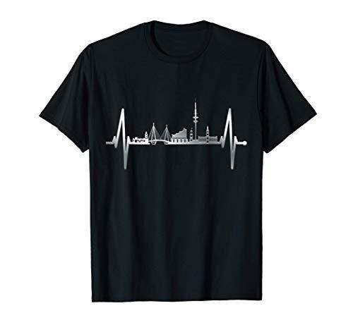 Hamburg Skyline Herzschlag Hamburger Hafen Liebe Fan Hamburg T-Shirt