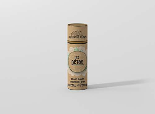 DEODETOX Desodorante Natural 60g | Suministro para 3 meses | A base de plantas, carbón activado de bambú, eucalipto de limón, albahaca, árbol de té | Biodegradable - No mancha |.