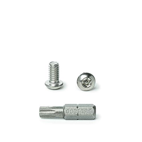 1/4-20 x 1/2' Button Head Torx Security Machine Screw Bolt, Includes bit, Fully Threaded, 18-8 Stainless Steel Tamper Resistant, Qty 25 by Bridge Fasteners