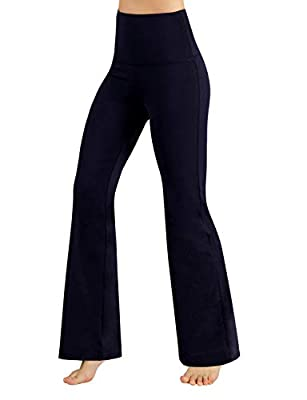 ODODOS Women's High Waist Boot-Cut Yoga Pants Tummy Control Workout Non See-Through Bootleg Yoga Pants,Navy,Large