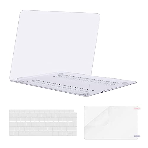 MOSISO Hülle Kompatibel mit MacBook Air 13 Zoll 2020 2019 2018 A2337 M1 A2179 A1932 Retina Bildschirm, Plastik Hartschale und Tastaturschutz und Bildschirmschutz Nur Kompatibel mit MacBook Air 13 Zoll, Klar