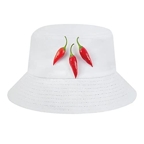 Indimization Sombrero Pescador Soft Sun Cap Creative Plegable Bucket Hat Adecuado para Viajes De Pesca Al Aire Libre Chile Rojo 56