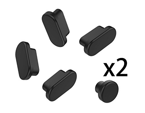 (10PCS) Anti Dust Port Plugs Cover Dust Cups for 2019 MacBook Pro 16 A2141 / 2019-2016 Release MacBook Pro 13 A2159 A1706 A1708 A1989 and MacBook Pro 15 A1707 A1990, Black