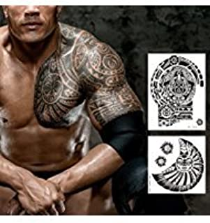 Leoars Extra Large Temporary Tattoo Similar the Rock Arm Chest Big Totem Body Tattoos Sticker for Men Women Makeup Waterproof Fake Tattoo, 2-Sheet