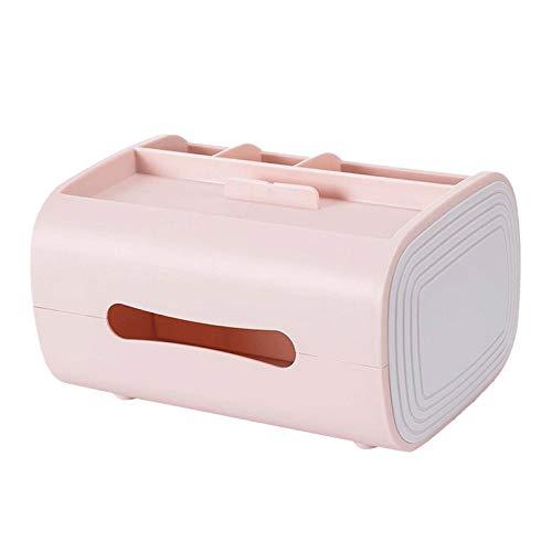 perfk Soporte de Cubierta de Caja de Pañuelos Faciales de Papel Plástico Moderno para Encimeras de Tocador de Baño, Tocadores de Dormitorio, Mesitas de Noch - Rojo, Individual