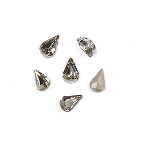 PENVEAT 4300 Diamantes de imitación de Diamante Negro de Gota de Pera para Manualidades Adornos Base de Garra Coser en la Ropa Todo para Costura, Diamante Negro, 5x8 mm 108 Piezas