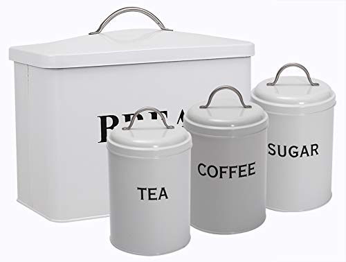 Xbopetda Bread Box & 3 Piece Kitchen Canister Set - Deluxe Food Storage Containers Countertop - Storage Container For Loaves Pastries Dry Food Space-Saving (White)