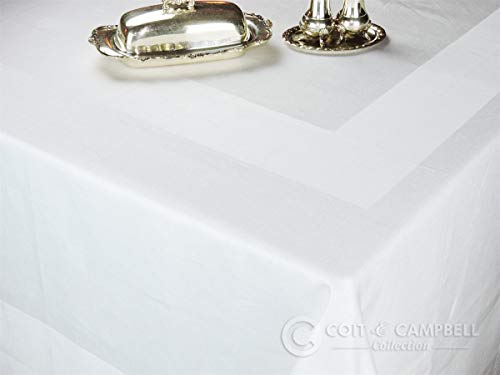 Luxury Angel White Satin Band Tablecloth - 100% Cotton - 'Royal Collection' (54