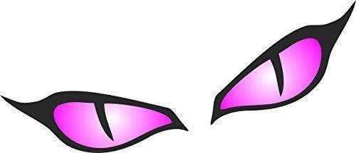 Par de mal de ojo diseño de ojos en magenta rosa para casco para moto pegatina para coche 80x 40mm cada