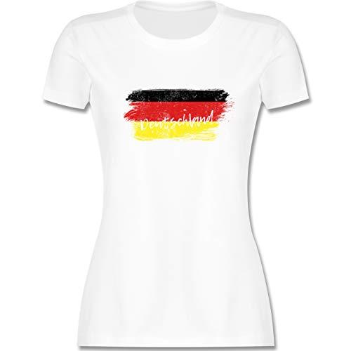 Handball WM 2021 - Deutschland Vintage - S - Weiß - Damen Tshirt Deutschland - L191 - Tailliertes Tshirt für Damen und Frauen T-Shirt