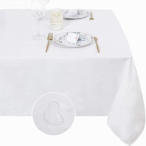 QueenDream Christmas White Waterproof Rectangle Tablecloth Party Decorations 60x120inch Polyester Table Cloth for Indoor Outdoor Holiday Christmas Wedding