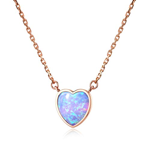 Initial Necklace Letter S Heart Opal Pendant 18K Rose Gold Plated Sterling Silver Chain Necklaces
