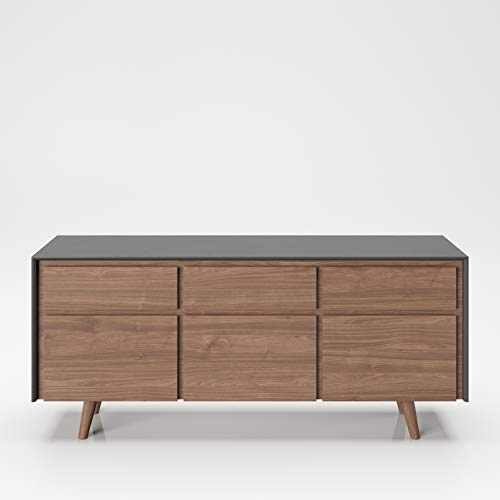 PLAYBOY Sideboard mit 3 Schubladen und 3 Türen,sanft-schliessend, grau-Nussbaumdekor, Kommode mit Stauraum im Retro-Design für Wohn-und Essbereich, Speisezimmer, Diele, Flur, Eingang und Schlafzimmer
