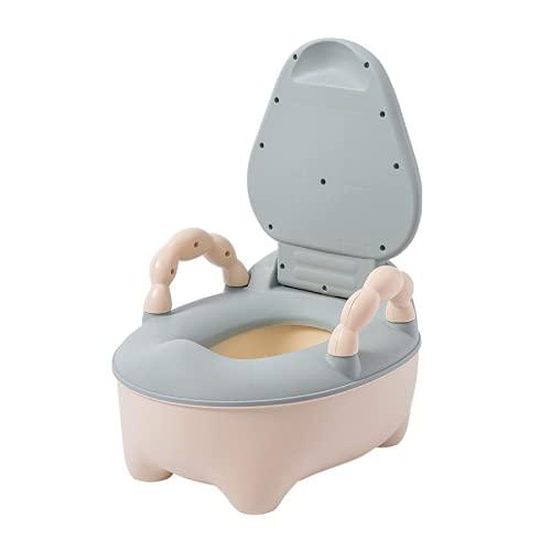 YGJT Orinales Infantiles 3 en 1 con Tapa, Orinal Water Infantil con Asiento Acolchado y Protector contra Salpicaduras, Inodoro para Bebés, Azul