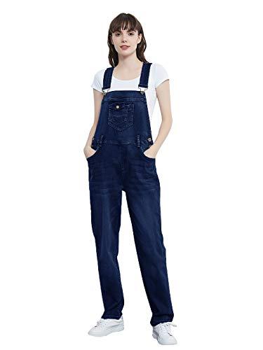ANNA-KACI Frauen Leicht Sommer Denim Blue Jeans Gerades Bein Taschen Latzhose mit Taschen