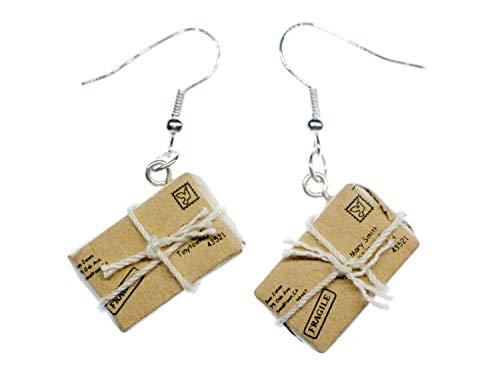 Miniblings Paket Ohrringe Päckchen Post Brief Nachricht Schnur Briefmarke - Handmade Modeschmuck I Ohrhänger Ohrschmuck versilbert