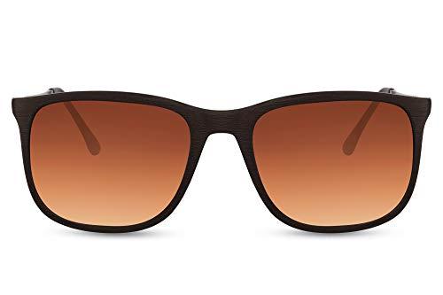 Cheapass Occhiali da Sole Sunglasses in Stile Sportivo Metallico Aste in Ramo e Montatura Marrone con Lenti Gradienti Marroni 100% UV da Uomo