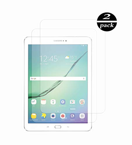 TECHKUN - Protector de Pantalla de Cristal blindado, 2 Unidades, Compatible con Samsung Galaxy Tab S2 9.7 y Samsung Galaxy Tab S3 9.7
