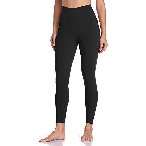 YULINGSTYLE Black High Waist Pockets Leggings Pushing Legging Sport Frauen Fitness Laufen Yoga Hosen Energie Nahtlose Leggings Gym Girl Leggins Weiche Feuchtigkeit Wicking, M.