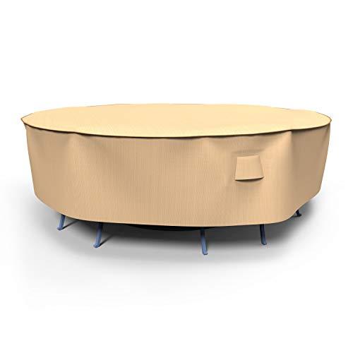 Budge P5A02TNNW2 NeverWet Savanna - Copritavolo rotondo e sedie, grande, colore: marrone chiaro