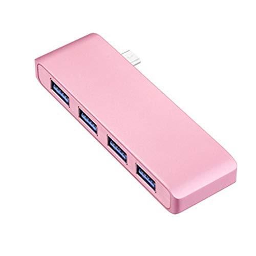 Hub USB 3.0 Ultra Sottile Splitter USB a 4 Porte Alta velocità Trasmissione Carica Inversa per MacBook, Mac, iMac, Surface, Taccuino, PC,Pink