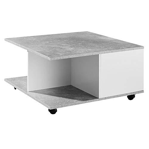 WOHNLING Mesa de centro de diseño, 70 x 70 cm, color gris cemento/blanco, mesa de salón con 2 cajones, mesa con 2 compartimentos