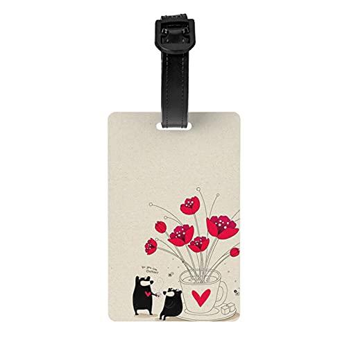 Caracteres de dibujos animados lindos etiqueta de equipaje protección de privacidad bolsa etiqueta maleta