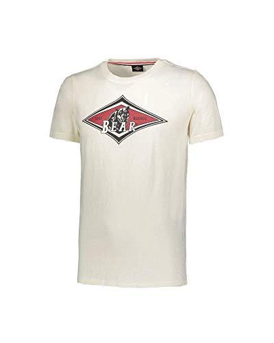 Bear MC T-Shirt Uomo Girocollo Stampa Logo Frontale a Contrasto Surfboard (Bianco, M)