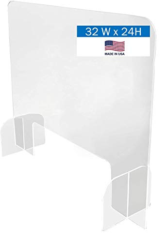Desktop Protective Shield Barrier - Portable Lightweight Sneeze Cough Guard Clear Acrylic for Sales Counter Reception or Nail Salon – Protects Workers & Customers (31.5'W x 23.5'H - Cutout 6'H x 18'W)