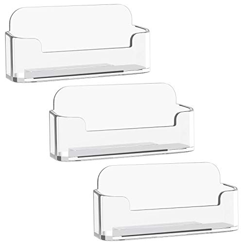 MaxGear 3 Pack Acrylic Business Card Holder for Desk Plastic