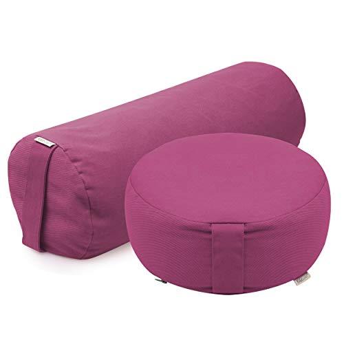 Yogistar Dhyana - Set de yoga (incluye cojín de meditación y almohadilla de yoga aterciopelada), color rosa