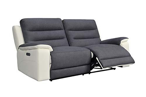 Meubletmoi - Sofá relaxation de 3 plazas, tejido gris y pie