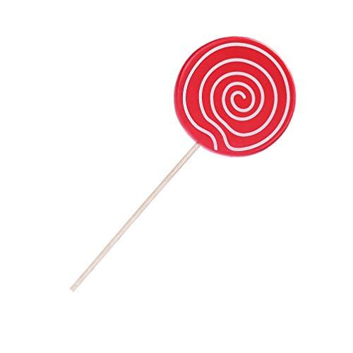 Amosfun Lollipop Prop Grandes Adornos de Caramelo 14 cm Festivo Vacaciones Navidad Cosplay Boda cumpleaños Foto Accesorios niños Juguete Fiesta Suministros (Rojo)