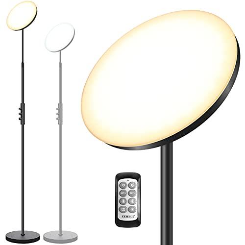 Stehlampe LED Dimmbar, EEIEER 30W/3000LM Moderne Deckenfluter LED Stehleuchte Stufenlos Dimmbar mit 3 Farbtemperaturen, Einziehbare Stange Fernbedienung&Knob Control für Wohnzimmer Schlafzimmer Büro