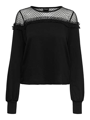Only ONLCHERRY L/S Mesh O-Neck SWT Sudadera, Negro, L para Mujer