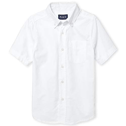 The Children's Place Big Boys' Short Sleeve Uniform Oxford Shirt, White 4765, Medium/7/8