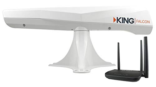 KING KF1000 Falcon Automatic Directional WiFi Antenna with WiFiMax Router and Range Extender - White