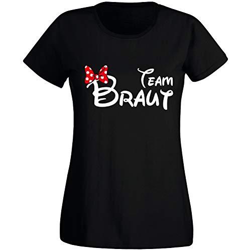 Shirt-Panda JGA T-Shirt Damen Team Braut Maus · Junggesellinnenabschied T Shirt · Viele Farben · Größen XS - XXL Schwarz - Team Braut S