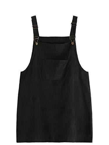 Romwe Women's Plus Size Pocket Front Adjustable Straps Corduroy Pinafore Short Dress Black 3X Plus