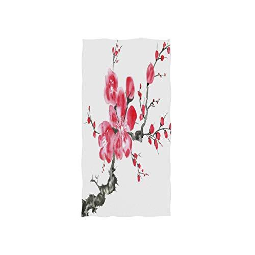 Mnsruu Chinesischer Kirschblütenbaum Ölgemälde Kunstwerk Weiches Bad Hotel Spa Hand Gym Sport Handtuch 76 x 38 cm (30 x 15 Zoll)