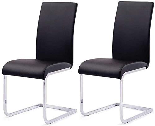 G.S.N. GSN Executive Recline Stühle Set bestehend aus 2-Leder Dining Chair, Chrom Stahlrahmen Beine High Back Küche und Esszimmer Möbel 3 Farbe Gepolsterte Bürostuhl Sessel (Color : Black)