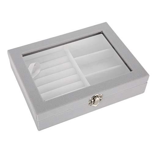 Graue Flanell-Schmuckschatulle für Geschäfts- und Privatpersonen, Holzschmuck-Vitrine mit Flanell-Mittelplatte, 2 verschiedene funktionale Trennwände, Aufbewahrungsorganisator für Tabletthalter