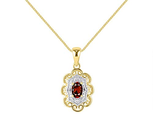 RYLOS Necklaces for Women 925 Yellow Gold Plated Silver Flower Necklace Gemstone & Genuine Diamonds Pendant 18' Chain 6X4MM Garnet January Birthstone Womens Jewelry Silver Necklace For Women