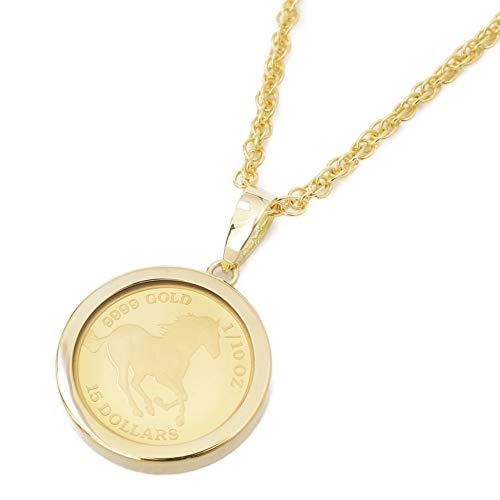 純金 コイン ペンダント 1/10オンス K24 ホース 金貨 エリザベス女王 K18 枠 両面ガラス入り