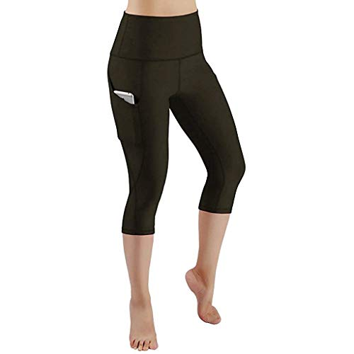 Frashing Damen Capri Leggings mit Doppeltaschen Sport Leggings 3/4 Yogahose Sporthose Laufhose Training Tights mit Handytasche Sport Gym Yoga Laufen Fitness Leggings Hose