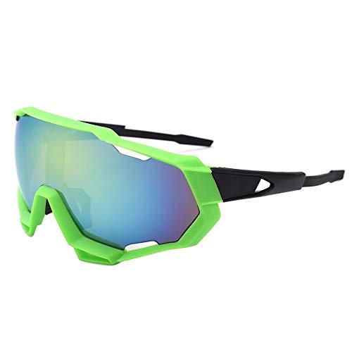 NSGJUYT Gafas de Ciclismo Profesional Bici Deportes al Aire Libre Bicicleta Gafas de Sol UV Equitación al Aire Libre Ciclismo Glasse (Color : Green Gold)