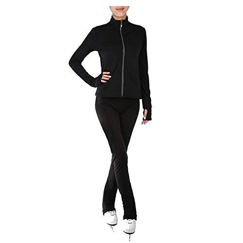 Wasserdicht Eiskunstlauf-Trainingsoutfit Damen Mädchen Rollschuh eng Jacke Gamaschen Trainingsbekleidung Einfarbig,Schwarz,S
