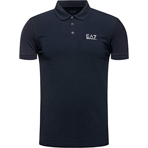 Emporio Armani Herren Core Polo Poloshirt, Nachtblau/silberfarben, Groß